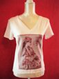 Azerbaijan woman tshirt for belly dance and tribal fusion dance lesson - hand dyed front view