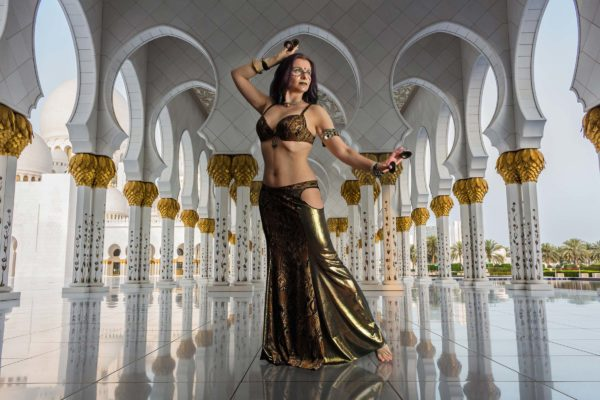 tribal fusion and belly dance costume suitable for baladi with mermaid skirt is a professional costume for belly dancers Raja by Artemisya Dancewear
