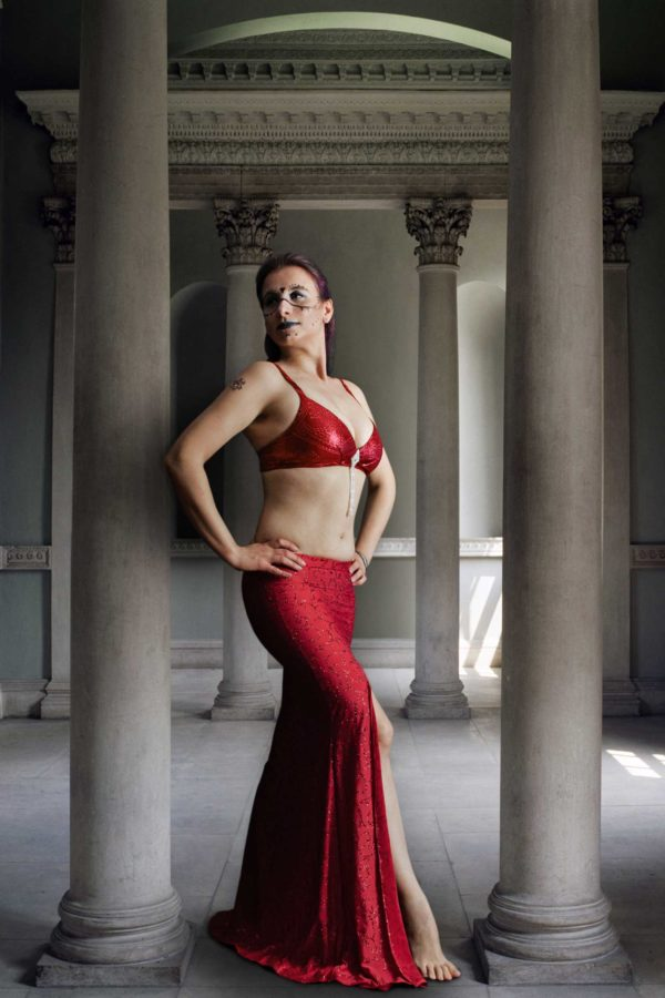 tribal fusion and belly dance red mermaid skirt for professional tribal belly dancers and professional dance outfit raqs sharqi skirt Arabesque by Artemisya Dancewear