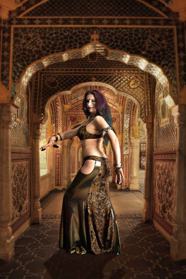 tribal fusion and belly dance skirt suitable for baladi is a mermaid panel skirt for professional belly dancers Raja by Artemisya Dancewear