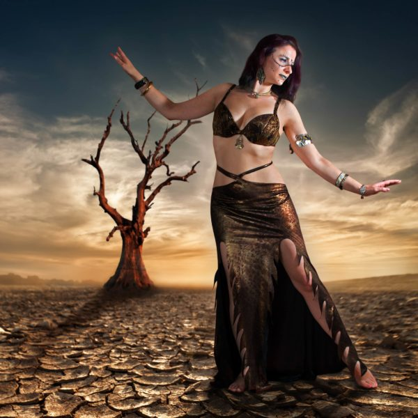 tribal fusion and belly dance skirt suitable for baladi is a mermaid panel skirt for professional belly dancers Sacred Fire by Artemisya Dancewear