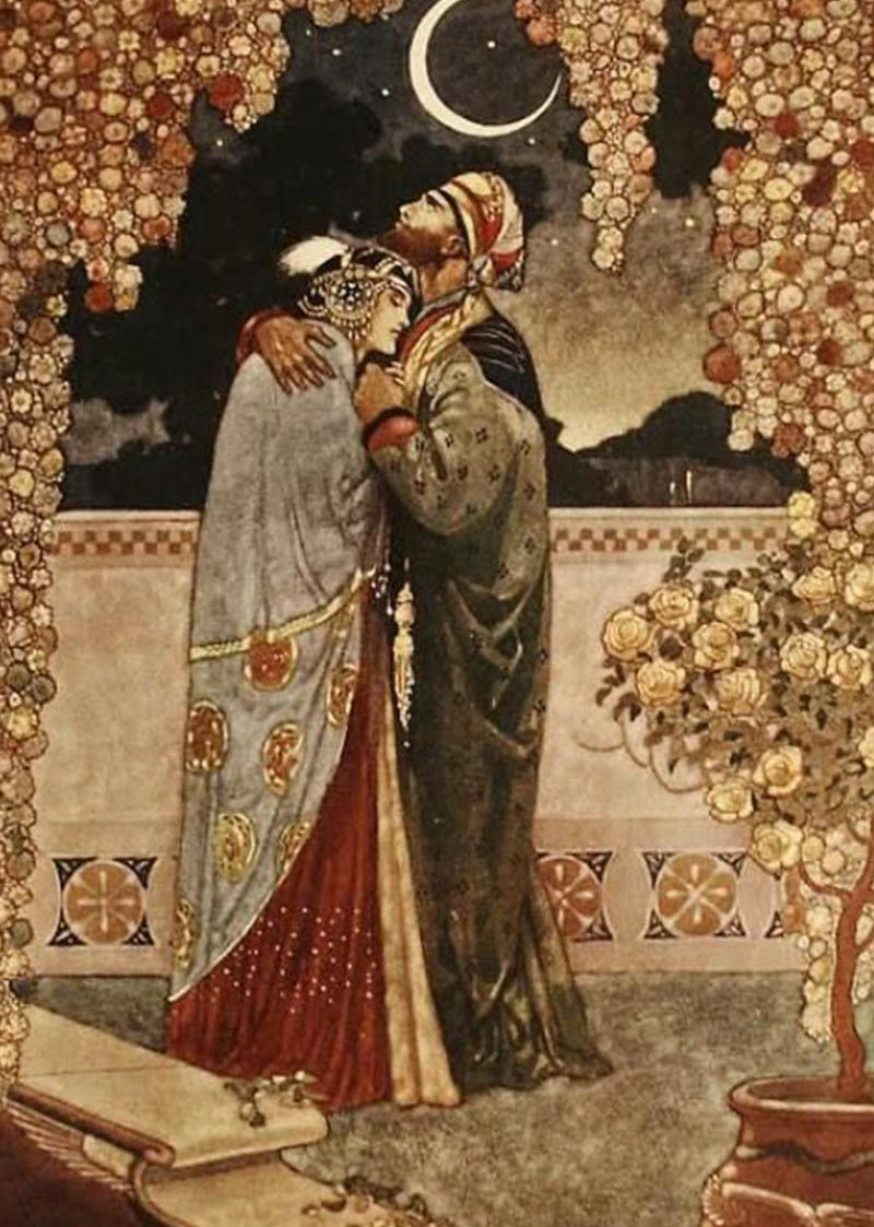 Artemisya Dancewear blog - The 1001 nights of Princess Sherazade - Rene Bull – Illustrations from Rubaiyat of Omar Khayyam 1913