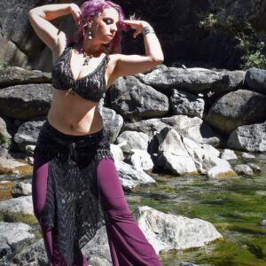 tribal fusion and belly dance costume with over skirt is a professional costume for belly dancers Nagwa by Artemisya Dancewear